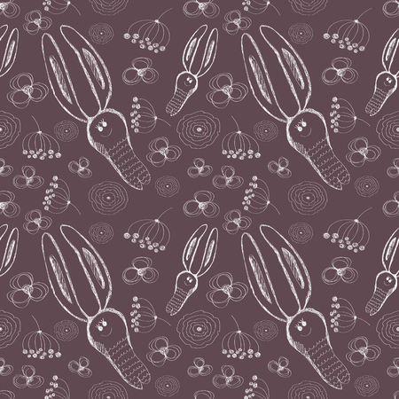 kiddish: Seamless vector pattern. Cute background with hand drawn rabbits and flowers. Series of Cartoon, Doodle, Sketch and Scribble Seamless Vector Patterns. Illustration