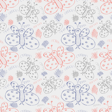 Seamless vector pattern. Cute blue and red background with hand drawn butterflies and scribbles. Series of Cartoon, Doodle, Sketch and Scribble Seamless Vector Patterns. Illustration