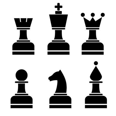 chessmen: Vector set of chess figures. Black chessmen isolated on the white background.
