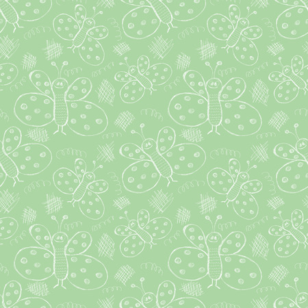 Seamless vector pattern. Cute pastel green background with hand drawn butterflies and scribbles. Series of Cartoon, Doodle, Sketch and Scribble Seamless Vector Patterns.