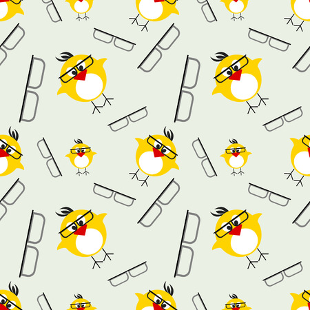 kiddish: Seamless vector pattern with animals, cute background with chikens with glasses. Series of Animals and Insects Seamless Patterns.