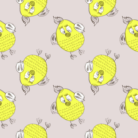 chiken: Seamless vector pattern with animals. Cute hand drawn background with yellow chicken on the grey backdrop. Series of Cartoon, Doodle, Sketch Seamless Patterns.