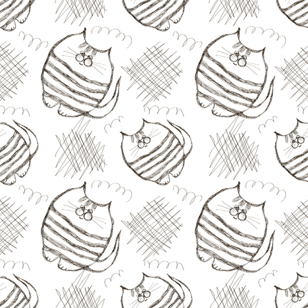 kiddish: Seamless vector pattern. Cute black and white background with hand drawn cats and scribbles. Series of Cartoon, Doodle, Sketch and Scribble Seamless Vector Patterns.