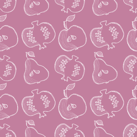 bono: Seamless vector pattern with hand drawn fruits. Background with pomegranates, apples, pears. Series of Cartoon, Doodle, Sketch and Hand drawn Seamless Patterns. Illustration