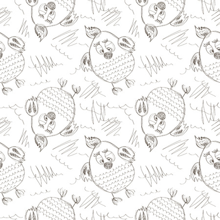 chik: Seamless vector pattern with animals. Cute hand drawn background with chicken and scribble on the white backdrop. Series of Cartoon, Doodle, Sketch Seamless Patterns.