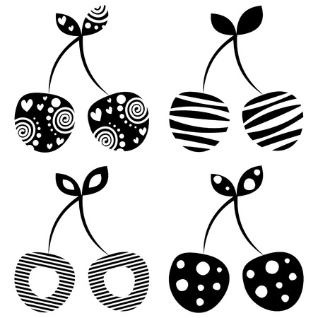 set series: Vector set of different fruits illustrations. Decorative ornamental black and white cherries isolated on the white background. Series of Fruits Illustrations.