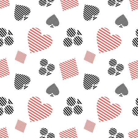 playing card symbols: Vector seamless pattern with black and red lined playing card symbols on the white background. Series of Gaming and Gambling Seamless Patterns.