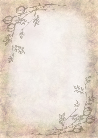 blanks: Hand drawn textured floral background.Crumpled paper with rose and leaves.Template for letter or greeting card.A4 size format.Series of Watercolor,Oil,Pastel,Chalk, Backgrounds and Cards,Blanks,Forms. Stock Photo