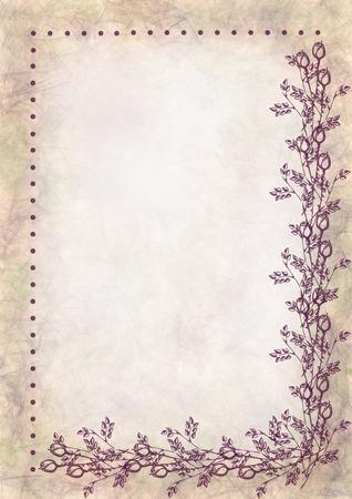 手には、テクスチャの花の背景が描画されます。バラと葉を持つ紙を丸めて。手紙やグリーティング カードのテンプレートです。A4 サイズ。水彩・ 写真素材