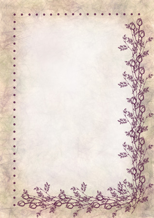 Hand drawn textured floral background.Crumpled paper with rose and leaves.Template for letter or greeting card.A4 size format.Series of Watercolor,Oil,Pastel,Chalk, Backgrounds and Cards,Blanks,Forms. Stock Photo