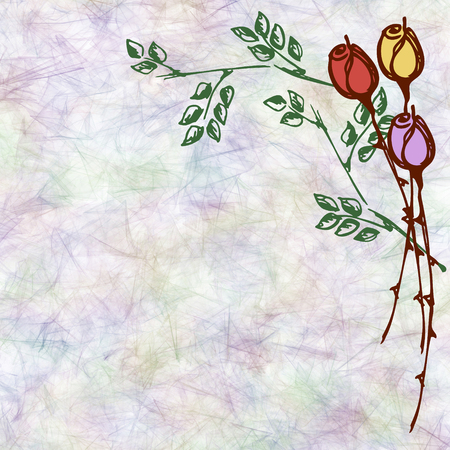 pastel drawing: Hand drawn textured floral background.Crumpled paper with rose and leaves.Template for letter or greeting card. Square shape. Series of Watercolor,Oil,Pastel,Chalk, Backgrounds and Cards,Blanks,Forms.