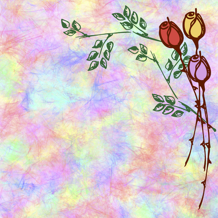 blanks: Hand drawn textured floral background.Crumpled paper with rose and leaves.Template for letter or greeting card. Square shape. Series of Watercolor,Oil,Pastel,Chalk, Backgrounds and Cards,Blanks,Forms.