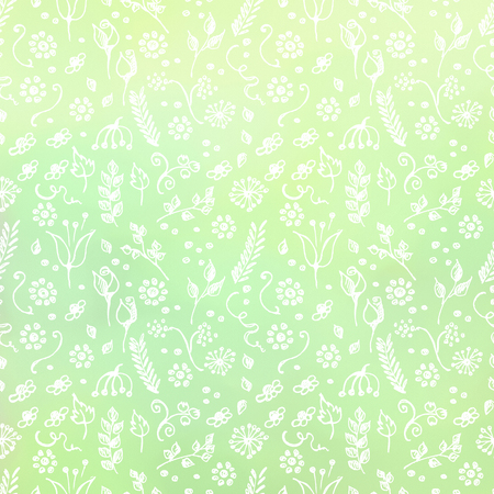 blanks: Hand drawn textured floral background. Green template with little flowers and leaves. Decorative pattern. Series of Watercolor, Oil, Pastel, Backgrounds and Cards,Blanks,Forms. Stock Photo