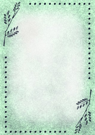 blanks: Hand drawn textured floral background.Vintage card with leaves in green colors. Template for letter or greeting card. Series of Watercolor, Oil, Pastel, Backgrounds and Cards,Blanks,Forms.
