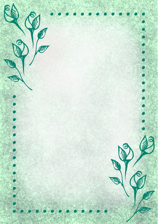 blanks: Hand drawn textured floral background.Vintage card with flowers, leaves, brushstrokes.Template for letter or greeting card. Series of Watercolor, Oil, Pastel, Backgrounds and Cards,Blanks,Forms.