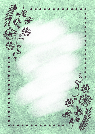 old letter: Hand drawn textured floral background.Vintage card with flowers and leaves.Template for letter or greeting card. A4 format size. Series of Watercolor, Oil, Pastel, Backgrounds and Cards,Blanks,Forms. Stock Photo