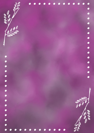 blanks: Hand drawn textured floral background.Vintage card with leaves in violet colors. Template for letter or greeting card. Series of Watercolor, Oil, Pastel, Backgrounds and Cards,Blanks,Forms.