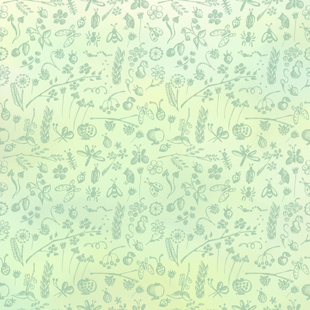 textured backgrounds: Hand drawn textured floral background. Green template with little flowers and leaves. Decorative pattern Series of Watercolor, Oil, Pastel, Backgrounds.