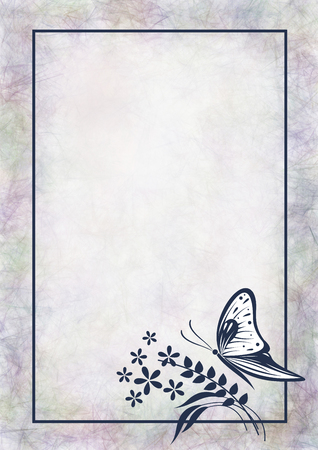 butterfly stroke: Hand drawn textured watercolor floral background. Pastel card with butterfly,flowers. Stock Photo