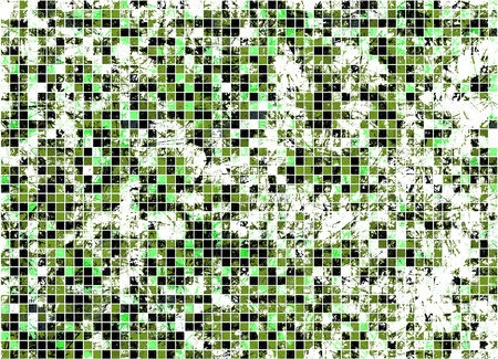 scrape: Abstract drawn watercolor checkered bright background with scrape and scratch in green colors.