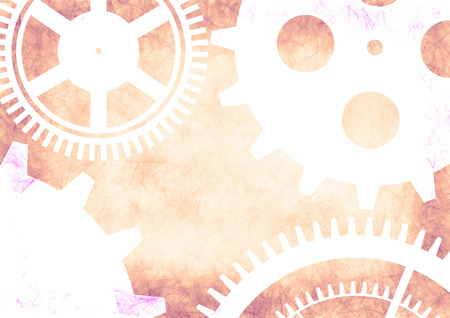 retro grunge: Hand drawn background with gear wheel in pink colors. Abstract grunge background with mechanism of watch.