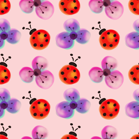 lady cow: Seamless floral pattern with insects. Watercolor background with hand drawn flowers and ladybugs.