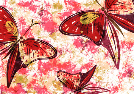 red wallpaper: Hand drawn textured artistic floral background with insect. Creative wallpaper with butterflies in red colors. Stock Photo