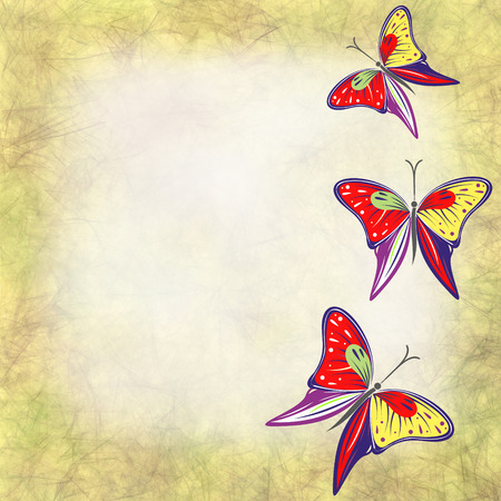 butterfly stroke: Hand drawn textured watercolor background with insect. Beige card with butterfly Stock Photo