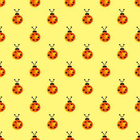 Seamless pattern with insects. Watercolor background with hand drawn ladybugs.