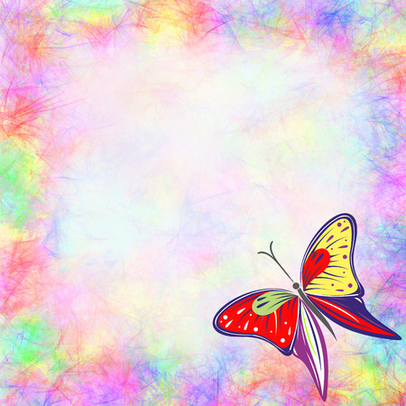 butterfly stroke: Hand drawn textured watercolor background with insect. Colorful card with butterfly Stock Photo