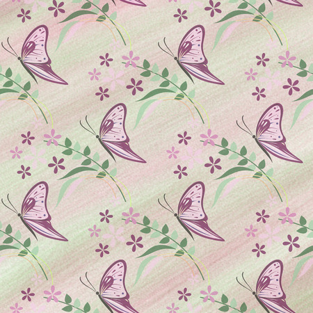 butterfly stroke: Hand drawn textured watercolor floral background with insect. Artistic template with butterflies.
