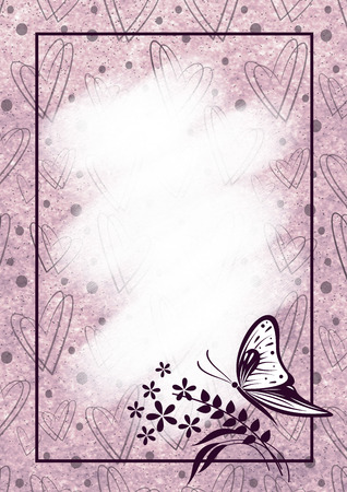 butterfly stroke: Hand drawn textured floral background with hearts, insect. Pastel card with butterfly,flowers. Stock Photo