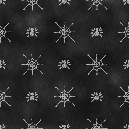 spider's web: Hand drawn background with insects, symmetrical background with spiders and spiders web on the black chalkboard. Stock Photo