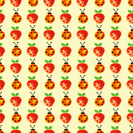 lady cow: Seamless pattern with insects and fruits. Watercolor background with hand drawn lady bugs and strawberries. Stock Photo