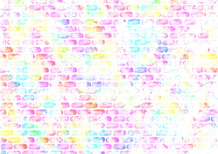 inc: Drawn abstract watercolor colorful background with bricks. Series of Watercolor, Oil, Pastel, Chalk and Inc Backgrounds. Stock Photo