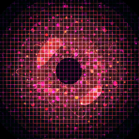 Abstract red pixeled background in the shape of eye. Stock Photo