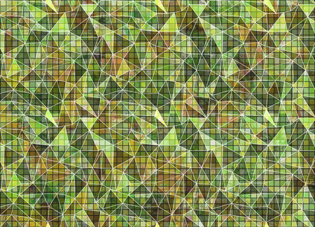 vitrage: Abstract drawn colorful background. Artistic wallpaper in green colors. Origami poligonal design with effect of  stained glass. Series of Grunge and Artistic Creative Backgrounds.