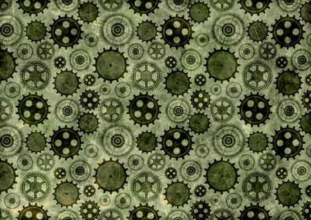 green grunge background: Hand drawn background with gear wheel.Abstract green grunge background with mechanism of watch. Texture with cracks, ambrosia, scratches, attrition.Series of Drawn Black and White Backgrounds. Stock Photo
