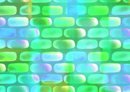 inc: Drawn watercolor background with bricks in green colors. Series of Watercolor, Oil, Pastel, Chalk and Inc Backgrounds. Stock Photo