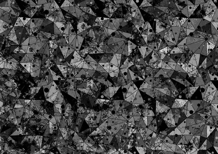 wall paint: Abstract drawn background. Artistic wallpaper in black and grey colors. Origami poligonal design with dots and effect of  stained glass. Series of Grunge and Artistic Creative Backgrounds. Stock Photo