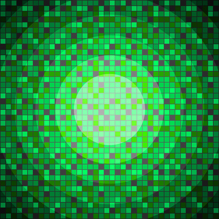 Abstract green pixeled background in the shape of circle.
