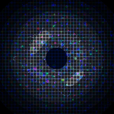 pixeled: Abstract blue pixeled background in the shape of eye. Stock Photo