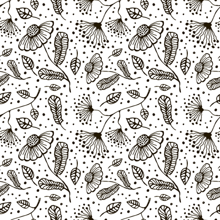 inc: Seamless vector floral pattern. Hand drawn black and white background with flovers and leaves. Inc drawing. Series of hand drawn seamless patterns.