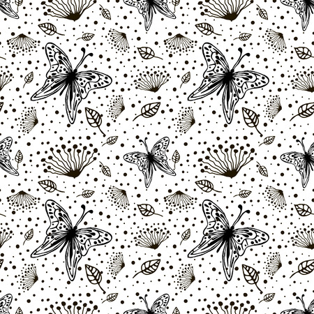butterfly stroke: Seamless vector floral pattern with insect. Cute hand drawn black and white background with flowers, butterfly and dots. Inc painting. Series of Hand Drawn Seamless Patterns. Illustration