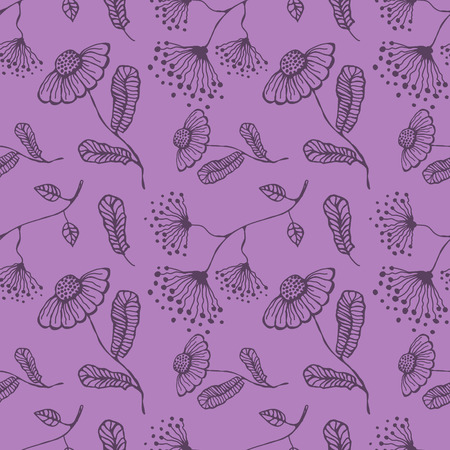 inc: Seamless vector floral pattern. Hand drawn violet background with flovers and leaves. Inc drawing.Series of hand drawn seamless patterns.
