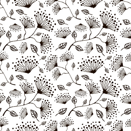 linework: Seamless vector floral pattern. Hand drawn black and white background with flovers and leaves. Inc drawing. Series of hand drawn seamless patterns.