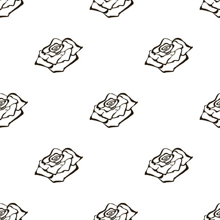inc: Seamless vector floral pattern with flowers. Hand drawn black and white background with rose. Inc painting. Series of Hand Drawn Seamless Patterns.