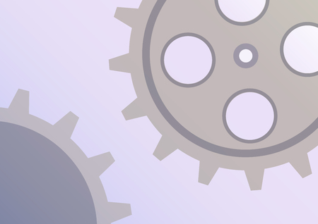 Vector illustration of gear wheel abstract background. Blue transparent banner with clockwork. EPS10.