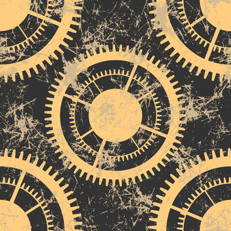 attrition: Vector seamless patterns with mechanism of watch. Creative geometric brown grunge backgrounds with gear wheel. Texture with cracks, ambrosia, scratches, attrition. Graphic illustration.