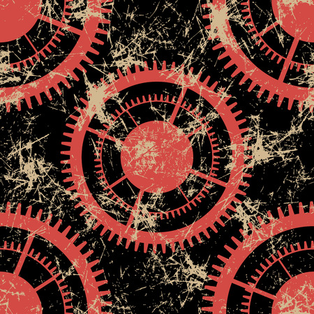 Vector seamless patterns with mechanism of watch. Creative geometric black and red grunge backgrounds with gear wheel. Texture with cracks, ambrosia, scratches, attrition. Graphic illustration.